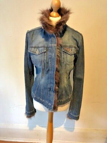 Paola Frani Blue Denim And Lilac Grey Fur Fitted Short Jacket Coat 10-12