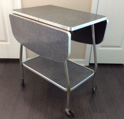 VIntage 50's Retro MCM Table SERVING CART TABLE by HOWELL Drop Leaf, Formica Top