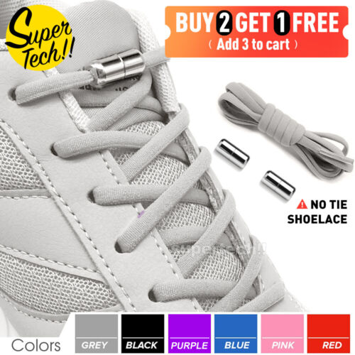 No Tie Locked Elastic Shoelace Shoe Lace Lazy Laces Sneakers Sports Kids Adults