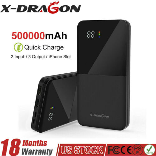 Portable 500000mAh LCD Power Bank External 2USB Battery Charger For Cell Phone