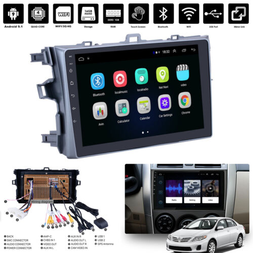 9'' 2Din Android 9.1 1+16GB Car Stereo Radio GPS Navi WIFI BT For Toyota Corolla
