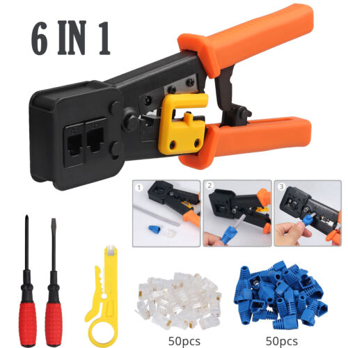 6 in 1 RJ45/12 Crimper Cat5/6 Connector End Pass Through Network Stripper Tool