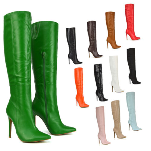 New Womens Knee High Boots Mid High Heel Ladies Pointed Toe Shoes Size 3-8