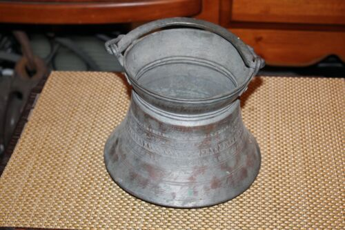 Antique Egyptian Metal Spittoon Cauldron With Handle Middle Eastern Copper