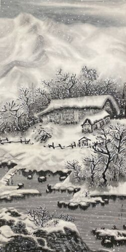 Vintage Chinese Watercolor SNOW NIGHT Hanging Scroll Painting - Wu Guanzhong