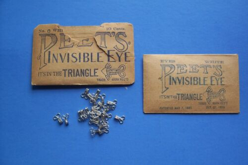 Antique Peet's Invisible Eyes and Hooks Patent May 7, 1895 Silver White Size # 0