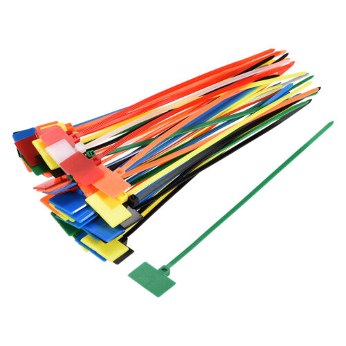 50x Cable Zip Ties 6 Inch Label Tag Mark Self-Locking Nylon Wire Strap