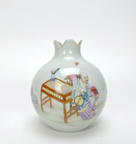 Finely Painted Chinese Famille Rose Figure Pomegranate Form Porcelain Vase