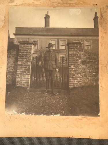 Large Old Photo AIF Australian Soldier On Leave England WWI Named H. Black