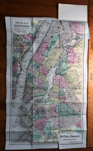 RARE Metropolis Illustrated Lg Colton Map 1871 - New York NY Pocket Travel Guide