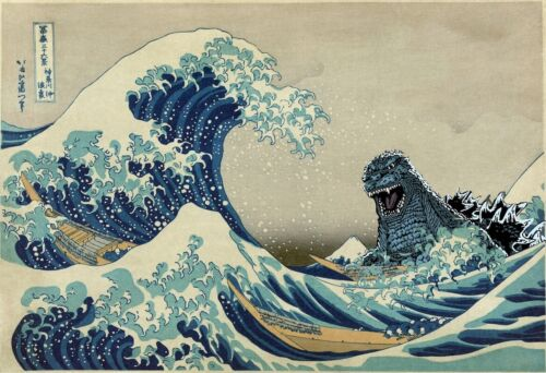GODZILLA VS THE GREAT WAVE - PARODY POSTER 24x36 - 53403