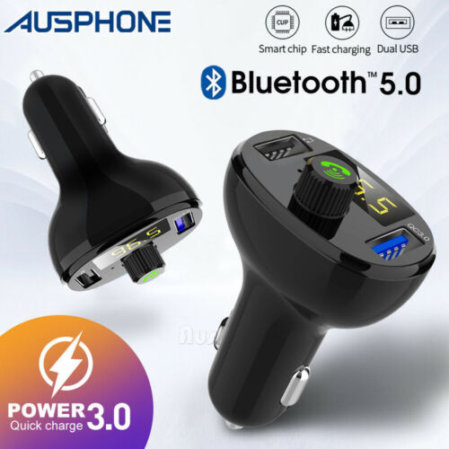 Bluetooth 5.0 Radio Car Kit Wireless FM Transmitter Dual USB Charger MP3 Player
