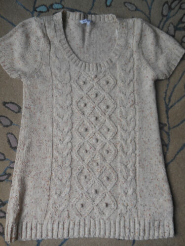Ladies Beige Knit Effect Long Jumper - Size Large (Short Sleeves)
