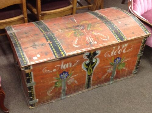 old 1887 large Norwegian Immigrant Domed Trunk Wedding / Blanket Chest