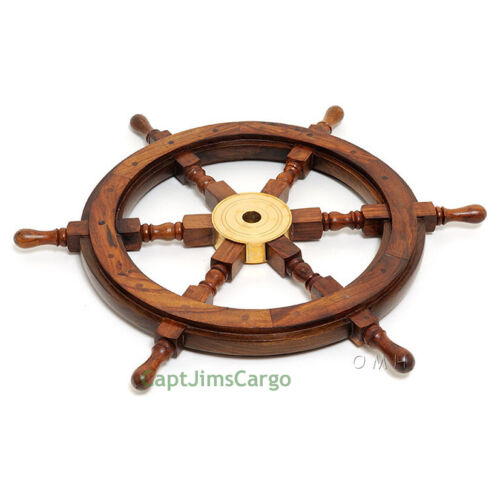 """Ship's Steering Wheel 36"""" Rosewood Solid Brass Hub Nautical Boat Wall Decor New"""