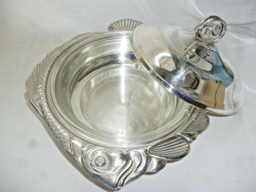 VINERS SILVER LARGE FISH DESIGN TUREEN with GLASS DISH for SEAFOOD - 37cm long
