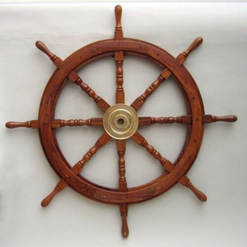 "WOODEN SHIP WHEEL 36""D STEERING BOAT WHEEL PIRATE MARINE NAUTICAL WALL DECOR"
