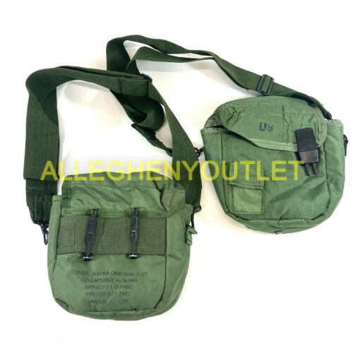 Lot of 2 US Military 2 Quart Canteen Cover Pouch, Insulated, OD Green 2 QT VGCCanteens - 156461