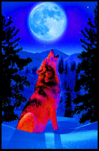 WOLF MOON - BLACKLIGHT POSTER - 24X36 - WOLVES 436
