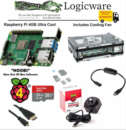 Raspberry Pi 4 Model B 4GB Ultra Cool Starter Pack | Fan, Switch Cable