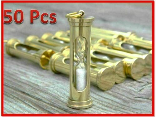 Lot Of 50 Piece Nautical Solid Brass Hour Glass Sand Timer Gift
