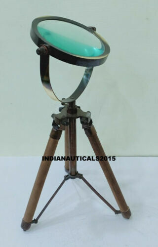 Nautical Wooden Stand Desk Magnifier Vintage Magnifying Glass Decorative Item