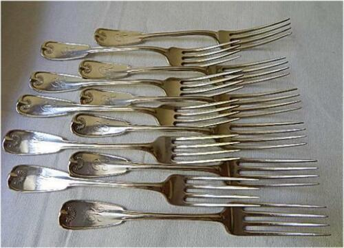 ELEVEN 1871 Tiffany PALM Sterling 7 Inch Lunch Fork-R Mono
