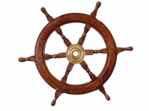 """Wooden Nautical Boat Ship Large Wooden Steering Wheel Nautical Wall Decor 24"""""""