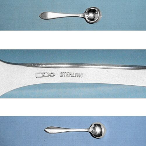 """DOMINICK & HAFF STERLING 3 1/8"""" SALT SPOON(S) ~ POINTED ANTIQUE ~ NO MONO"""