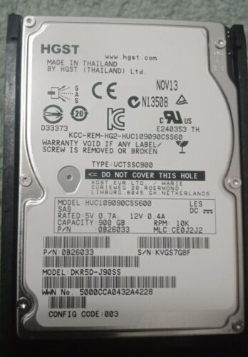 "900GB 2.5"" SAS HGST Hitachi HDD 10K.6 6Gb/s 0B26033 For HP DL380 G6 G7 Servers"