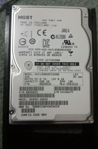"600GB 2.5"" SAS HDD HGST Hitachi-Compatible with HP Proliant DL360 DL380 G6 G7"