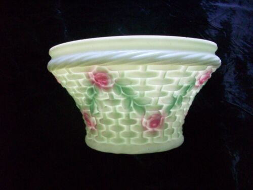 Antique Nicholas Kopp Green Opaque Basket Weave Rose Shade Consolidated Glass