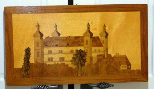 """VGUC+ 1980 Signed Czech Village Wooden Marquetry Wall Hanging 27.5"""" x 15.25"""""""