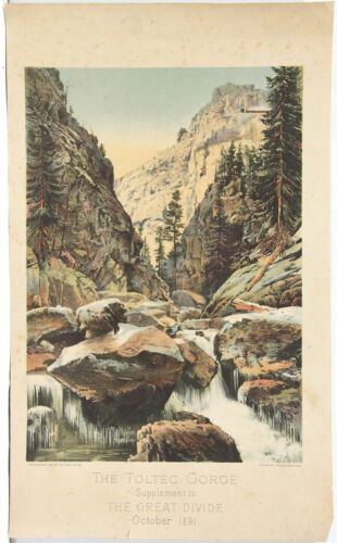 1891 Litho Supplement of the Toltec Gorge (New Mexico) from The Great Divide