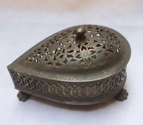BRASS JEWELRY BOX USED BY QUEEN OF JODHPUR WITH THREE LEGS AND NET DESIGN BR 167