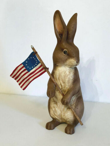 """VINTAGE  FOLK ART HOLIDAY BUNNY.  HAND CARVED. CRATE PROSPECTS. 10""""  8 PIECES!!!"""
