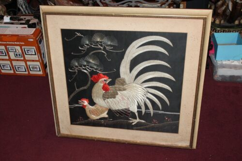 Chinese Asian Rooster Chicken Embroidery Needlepoint #1 Large Framed Cock