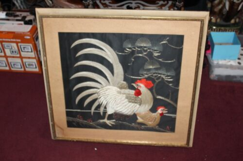 Chinese Asian Rooster Chicken Embroidery Needlepoint #2 Large Framed Cock