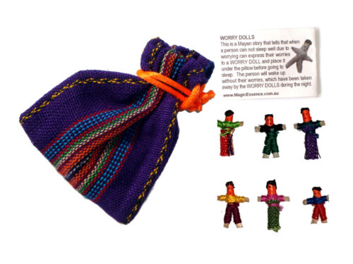 Worry Doll - 6 X MINI WORRY DOLLS in TEXTILE BAG - PURPLE
