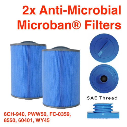 2x FILTER 50ft² Microban Anti-Microbial HOT TUB FILTER 6CH-940 PWW50 FC-0359 <br/> Pure Filtration--100% Reemay- Top Quality