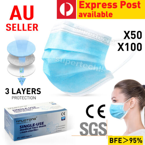 Face Mask Protective BWK 3 Layer Mouth Masks Anti Bacterial Filter 24HR DISPATCH <br/> AU Stock🔥AU Seller Since08🔥Melt Blown Filter🔥FB 350K
