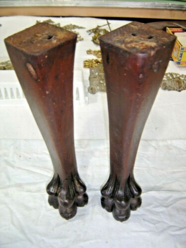 Antique Salvage ~ Pair  Walnut Legs with Claw Feet  ~1137