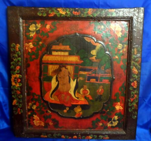Antique Tibetan Buddhist Asian Hand Painted Wood Panel Wall Hanging Art