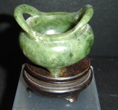 Antique Chinese Green Spinach Jade Incense Burner Censer Small Tripod 2 Handles