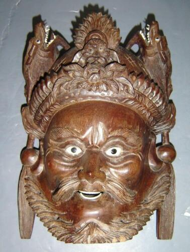 Antique Chinese Exceptional Wood Carved Mask With Beast Crown Of A Immortal .