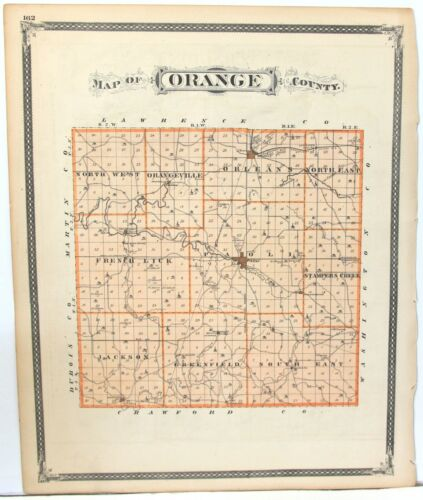 Seven Different c1876 Indiana Color Atlas Maps - 5 Counties & 2 Townships
