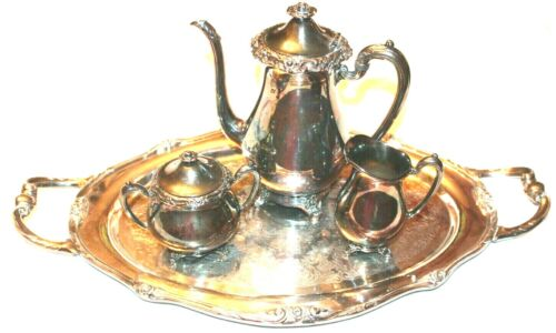 VTG!1881 Rogers Glenrose Silverplate Silver Plated Serving Tray 5-pc Tea Set