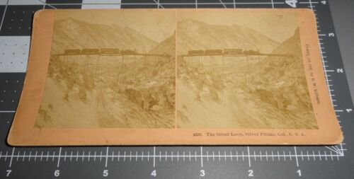 1890's The Great Loop SILVER PLUME Colorado CO Railroad Train  STEREOVIEW PHOTO