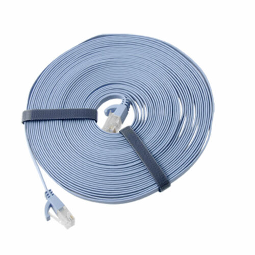 33FT 33 FT RJ45 CAT6a Flat High Speed Ethernet LAN Network Patch Cable Blue 10M
