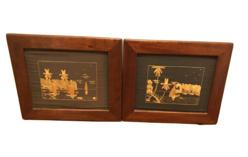 2 X Wall Decor Asian Bamboo picture Frame 330 X 290 mm Art Craft Timber